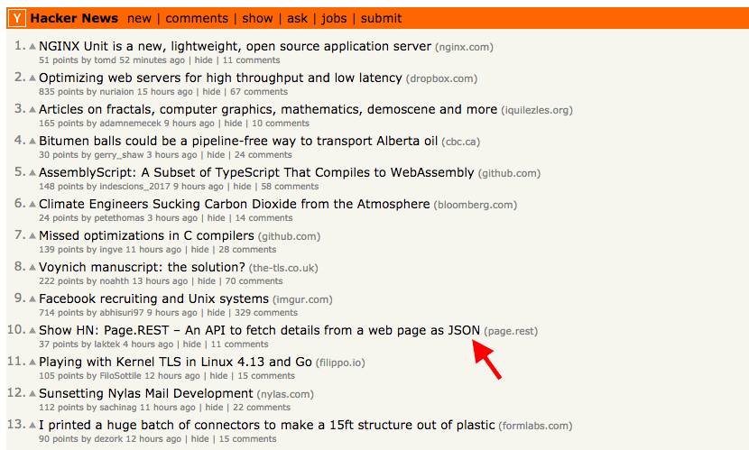Page.REST at #10 on HN