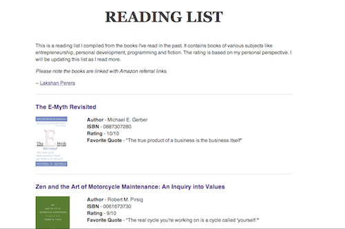 Reading List site homepage